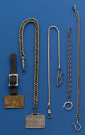 Timepieces:Watch Chains & Fobs, Five Piece White Metal Chain & Fob Lot. ... (Total: 5 Items)