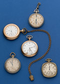 Timepieces:Pocket (post 1900), Five 12 Size Parts Pocket Watches. ... (Total: 5 Items)