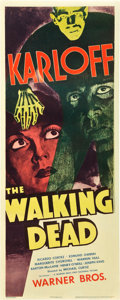 """Movie Posters:Horror, The Walking Dead (Warner Brothers, R-1942). Insert (14"""" X 36"""").. ..."""