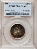 Proof Seated Quarters, 1887 25C PR64 Cameo PCGS....