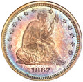 Proof Seated Quarters, 1867 25C PR66 NGC. CAC....