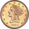 Liberty Eagles, 1880-CC $10 AU55 PCGS....