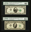 Error Notes:Ink Smears, Fr. 2012-D $10 1950B Federal Reserve Note. PMG Choice Uncirculated64 EPQ; Fr. 2024-K $10 1977A Federal Reserve Note. PMG Gem ...(Total: 2 notes)