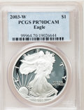 Modern Bullion Coins: , 2003-W $1 Silver Eagle PR70 Deep Cameo PCGS. PCGS Population (879).NGC Census: (7059). Numismedia Wsl. Price for problem ...