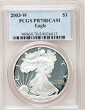 Modern Bullion Coins: , 2003-W $1 Silver Eagle PR70 Deep Cameo PCGS. PCGS Population (945).NGC Census: (7097). Numismedia Wsl. Price for problem ...
