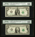 Error Notes:Ink Smears, Fr. 1905-L $1 1969B Federal Reserve Note. PMG About Uncirculated 55EPQ.. Fr. 1908-I $1 1974 Federal Reserve Note. PMG Choice ...(Total: 2 notes)