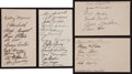 Baseball Collectibles:Others, Circa 1930's Major League Baseball Team Signed Index Cards Lot of4....