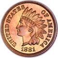 Proof Indian Cents, 1881 1C PR67 Red and Brown NGC....