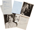 Movie/TV Memorabilia:Autographs and Signed Items, Jeanette MacDonald, Norma Shearer, and Others Vintage Signed Photosand Letters.... (Total: 6 )