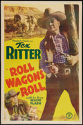 "Movie Posters:Western, Roll Wagons Roll (Monogram, 1940). One Sheet (27"" X 41""). Western.. ..."