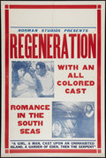 "Movie Posters:Black Films, Regeneration (Norman, 1923). One Sheet (28"" X 41""). Black Films....."