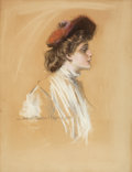 Mainstream Illustration, HOWARD CHANDLER CHRISTY (American, 1872-1952). Portrait of aGibson Girl in Red Hat. Pastel on board. 25 x 19.5 in.. Sig...