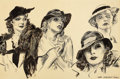 Mainstream Illustration, JAMES MONTGOMERY FLAGG (American, 1877-1960). Greta Garbo andHer Friends. Pen and ink on board. 17 x 26.5 in.. Signed l...