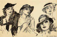 JAMES MONTGOMERY FLAGG (American, 1877-1960) Greta Garbo and Her Friends Pen and Ink on board 17