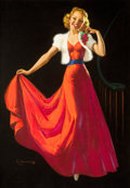 Pin-up and Glamour Art, KNUTE O. MUNSON (American, 20th Century). Pin-Up in RedDress. Pastel on board. 33.25 x 23.25 in.. Signed lower left....