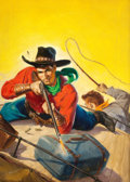 Pulp, Pulp-like, Digests, and Paperback Art, GEORGE ROZEN (American, 1895-1974). Gun Fire from Atop theCoach, Ace-High Western Stories, pulp cover, March 1950. Oil...