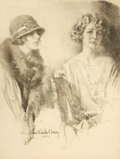 Paintings, HOWARD CHANDLER CHRISTY (American, 1872-1952). Two Women, 1924. Charcoal on board. 33 x 25 in.. Signed and dated lower l...