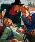 Pulp, Pulp-like, Digests, and Paperback Art, LESLIE ROSS (American, 1910-1989). A Wounded Man, probableGreater Western pulp cover, circa 1935. Oil on canvas. 23 x1...