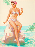 Pin-up and Glamour Art, KNUTE O. MUNSON (American, 20th Century). Polka Dot Bikini.Pastel on board. 32 x 24.5 in.. Signed lower left. ...