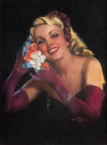 Paintings, ZOE MOZERT (American, 1904-1993). Blonde with Flower Hair Dress. Pastel on board. 27.5 x 20.5 in.. Signed lower right. ...