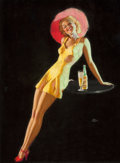 Pin-up and Glamour Art, EARL MORAN (American, 1893-1984). Pin-Up with a Cocktail.Pastel on paper. 20 x 15 in.. Signed center right. ...