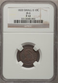 Bust Dimes, 1820 10C Small 0 Fine 12 NCS. JR-6 NGC Census: (3/214). PCGSPopulation (2/155). Mintage: 942,587. Numismedia Wsl. Price fo...
