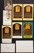Baseball Collectibles:Others, Baseball Hall of Famers Signed Memorabilia Lot of 9....