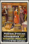 "Movie Posters:Serial, A Fight for Millions (Vitagraph, 1918). One Sheet (27"" X 41""). Episode 8 -- ""In the Clutches."" Serial.. ..."