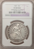 Seated Dollars: , 1847 $1 --Improperly Cleaned--NGC Details. VF. NGC Census: (6/329).PCGS Population (4/470). Mintage: 140,750. Numismedia Ws...