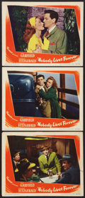 "Movie Posters:Film Noir, Nobody Lives Forever (Warner Brothers, 1946). Lobby Cards (3) (11"" X 14""). Film Noir.. ... (Total: 3 Items)"