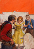 Pulp, Pulp-like, Digests, and Paperback Art, JOHN WALTER SCOTT (American, 1907-1987). The Hustler, WesternNovel and Short Stories, pulp cover, December 1934. Oil on...
