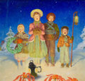 Mainstream Illustration, DOUGLASS CROCKWELL (American, 1904-1968). ChristmasCarolers. Tempera on board. 21.5 x 22.75 in.. Signed lowerright. ...
