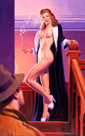 Pin-up and Glamour Art, GREG HILDEBRANDT (American, b. 1939). The Black Widow, 2000.Acrylic on masonite. 38 x 24 in.. Signed lower center. ...