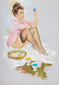 Pin-up and Glamour Art, FRITZ WILLIS (American, 1907-1979). Easter Egg Coloring, Brown& Bigelow calendar Pin-Up, April 1962. Oil on canvas.33....
