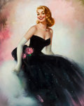 Pin-up and Glamour Art, EDWARD RUNCI (American, 1921-1985). Black Dress. Oil oncanvas. 29.5 x 23.5 in.. Signed lower left. ...