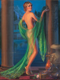 Pin-up and Glamour Art, GENE PRESSLER (American, b. 1893). Woman with Sheer Shawl.Pastel on board. 40 x 30 in.. Signed lower right. ...