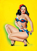 Pin-up and Glamour Art, PETER DRIBEN (American, 1902-1968). Pin-Up in a Bikini, BeautyParade magazine cover, October 1947. Oil on board. 34 x 2...
