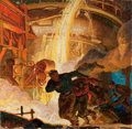 Mainstream Illustration, DEAN CORNWELL (American, 1892-1960). Running from the Fire.Oil on cardboard laid on board. 28 x 28.5 in.. Signed lower ...