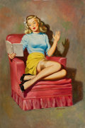Pin-up and Glamour Art, EDWARD D'ANCONA (American, 20th Century). Story Teller, LouisDow calendar Pin-Up. Oil on board. 30 x 20 in.. Signed low...