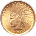 Indian Eagles, 1907 $10 No Periods MS63+ PCGS....