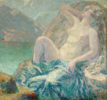 Pin-up and Glamour Art, SIGURO SKOD (20th Century). Hills in Norway. Oil onmasonite. 34 x 32 in.. Not signed. ...