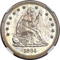 Proof Seated Quarters, 1864 25C PR64 NGC. CAC....