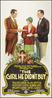 """The Girl He Didn't Buy (Peerless Pictures, 1928). Three Sheet (41"""" X 81""""). Romance"""
