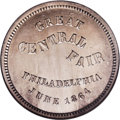 Civil War Merchants: , 1864 Great Central Fair, Philadelphia, PA, Fuld-PA-750L-1f, R.5,MS64 DPL NGC. Silver. A superb token certified Deep Proofli...