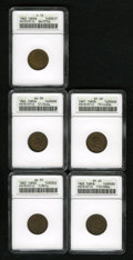 Civil War Patriotics: , 1863 I.O.U. 1 Cent XF40 ANACS, Fuld-1/391a, R.1, streakywalnut-brown, a rusted reverse die; 1864 Union For Ever AU58ANAC... (Total: 5 tokens)