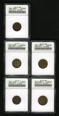 Civil War Patriotics: , 1863 Army & Navy XF45 ANACS, Fuld-15/319a, R.2, deep brown withorange tinges in protected areas; 1863 Our Army XF45 ANACS...(Total: 5 tokens)