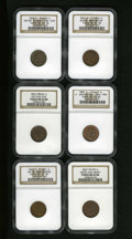 Civil War Patriotics: , 1863 Indian Head/George Washington Patriotic Civil War Token Lot.Each has an 1863-dated obverse with the Indian Head or Geo...(Total: 6 tokens)