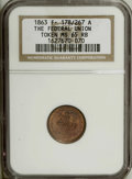 Civil War Patriotics: , 1863 The Federal Union, Fuld 178/267A, R.1, MS65 Red and Brown NGC.Copper. Nice example with what appears to be a statue of...
