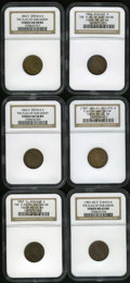 Civil War Patriotics: , Flag of Our Union Civil War Lot. Six pieces, all featuring the Flagof Our Union motif paired with differing reverses: an ... (Total: 6tokens)