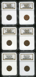 Civil War Patriotics: , Patriotic Group Lot. Consists of: an 1863 Remembrance,Fuld-244/381A, R.1, MS63 Brown NGC; (1861-65) Constitution ForEver... (Total: 6 tokens)
